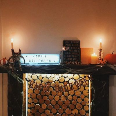 Scary But Classy Halloween Fireplace Decoration Ideas 54