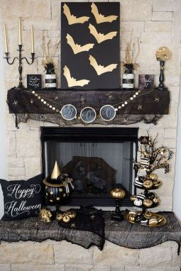 Scary But Classy Halloween Fireplace Decoration Ideas 59