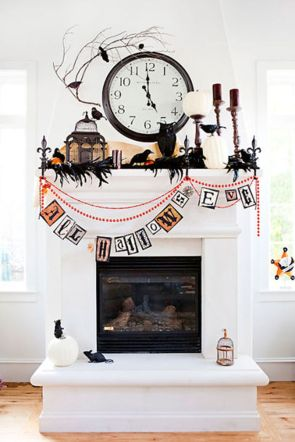Scary But Classy Halloween Fireplace Decoration Ideas 75