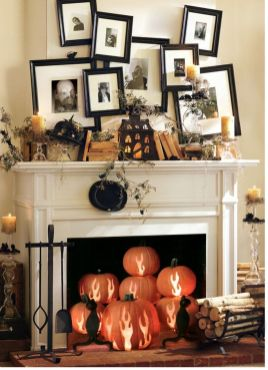 Scary But Classy Halloween Fireplace Decoration Ideas 88