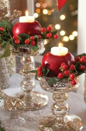 Romantic Christmas Centerpieces Ideas With Candles 35