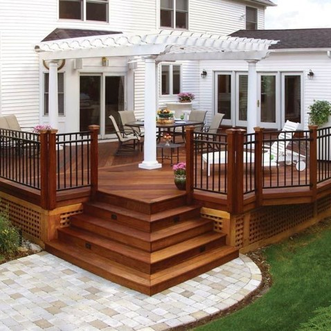 Gorgeous Wooden Deck Porch Design Ideas 31