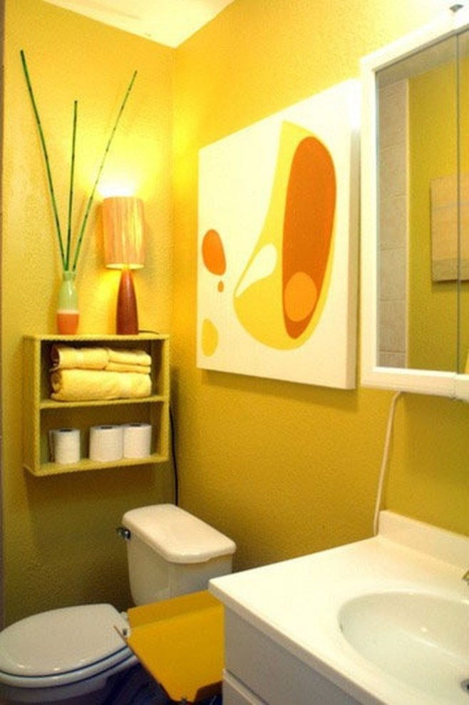 Lovely Sunny Yellow Bathroom Design Ideas 31