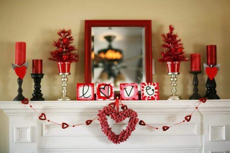 Best Valentines Fire Pit Mantel Decorating Ideas 46