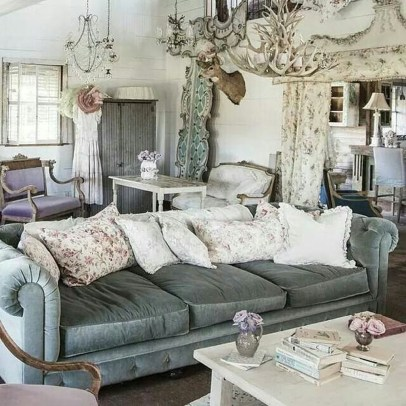 Cute Shabby Chic Farmhouse Living Room Decor Ideas 07