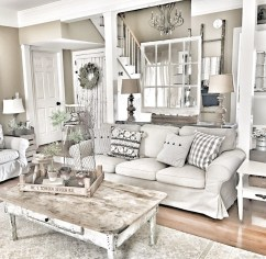 Cute Shabby Chic Farmhouse Living Room Design Ideas 38