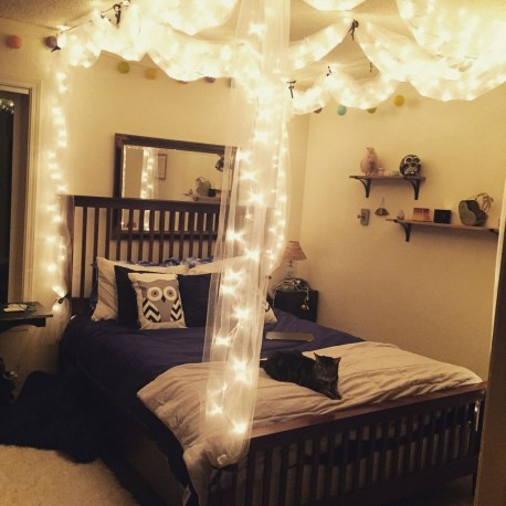 Awesome Canopy Bed With Sparkling Lights Decor Ideas 42