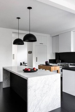 Simple Minimalist Small White Kitchen Design Ideas 42