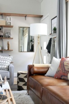 Beautiful Leather Couch Decorating Ideas For Living Room06
