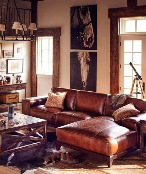 Fancy Leather Living Room Furniture Design Ideas 33