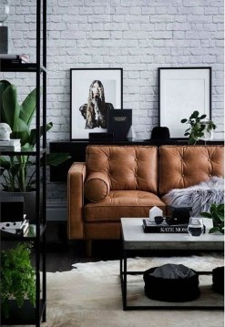 Fancy Leather Living Room Furniture Design Ideas 42