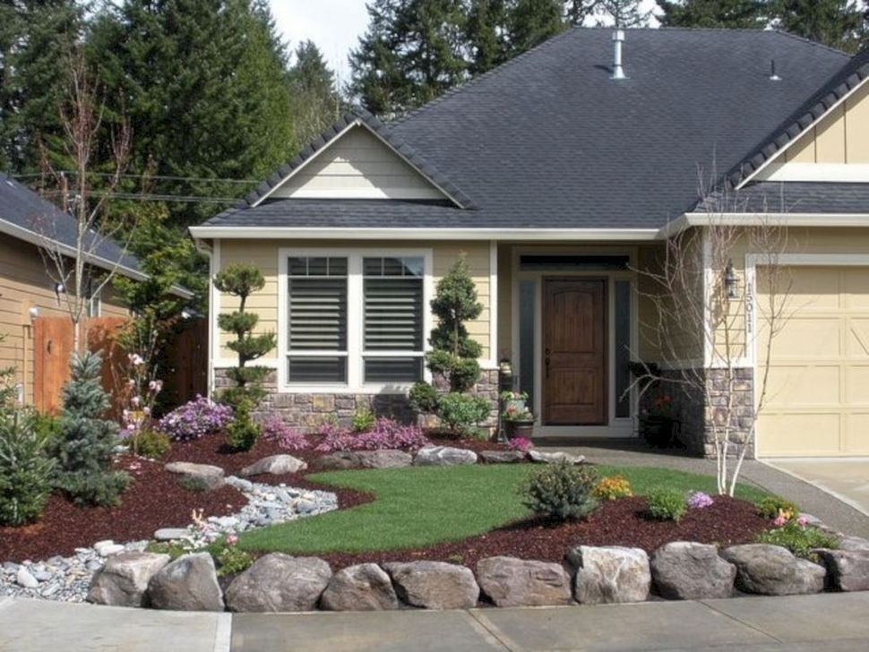 Pretty Front Yard Rock Garden And Landscaping Ideas03