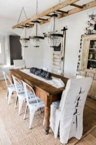 Romantic Rustic Farmhouse Dining Room Makeover Ideas27