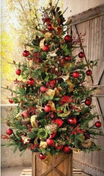 Gorgeous Rustic Christmas Tree Decoration Ideas18