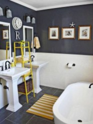 Cozy Coastal Style Nautical Bathroom Designs Ideas26