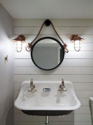 Cozy Coastal Style Nautical Bathroom Designs Ideas37