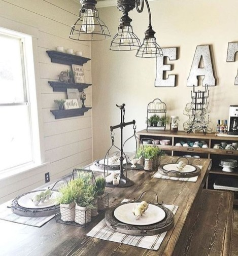 Captivating Farmhouse Dining Room Table Decorating Ideas24