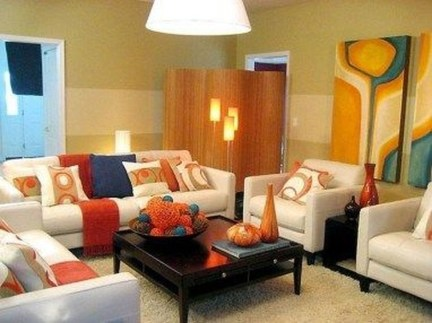 Relaxing Living Room Design Ideas With Orange Color Themes 03