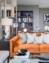 Relaxing Living Room Design Ideas With Orange Color Themes 07