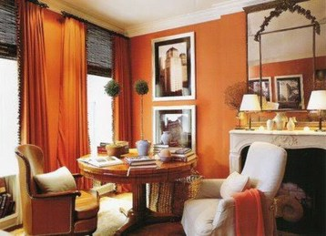Relaxing Living Room Design Ideas With Orange Color Themes 21