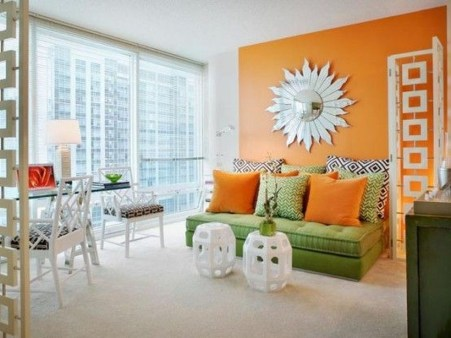 Relaxing Living Room Design Ideas With Orange Color Themes 28