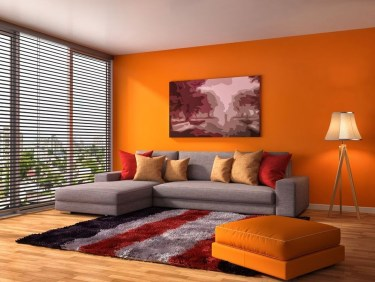 Relaxing Living Room Design Ideas With Orange Color Themes 39