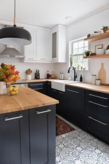 Fancy Painted Kitchen Cabinets Design Ideas With Two Tone 16