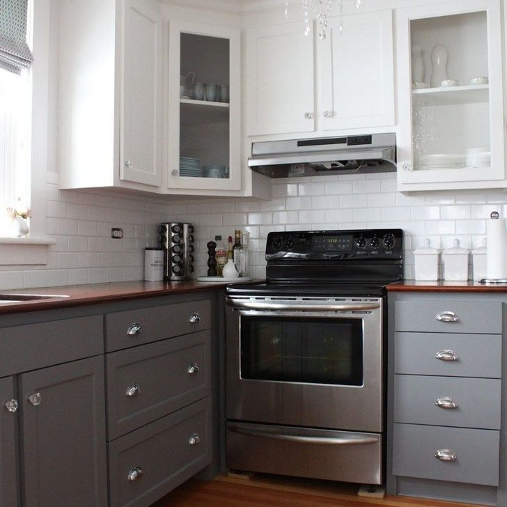 Fancy Painted Kitchen Cabinets Design Ideas With Two Tone 18