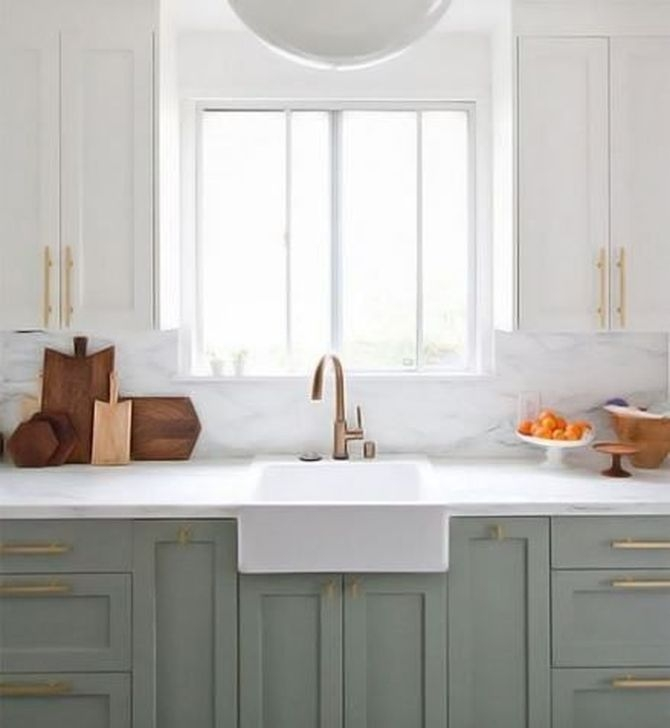 Fancy Painted Kitchen Cabinets Design Ideas With Two Tone 31