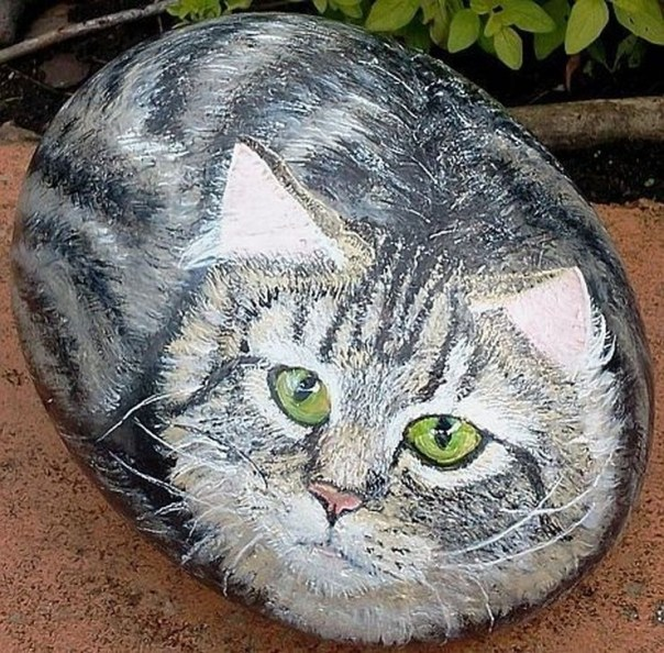Glamour Diy Painted Rocks Animals Cats Ideas For Summer 46