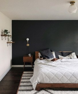 Delightful Bedroom Designs Ideas With Dark Wall That Breaks The Monotony 35