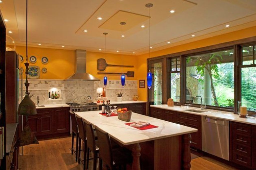 Splendid Kitchen Designs Ideas With Tones Of Vibrant Colors 44