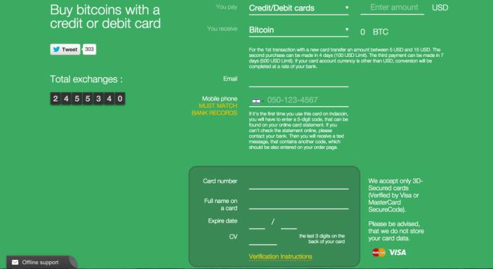 indacoin credit card bitcoin