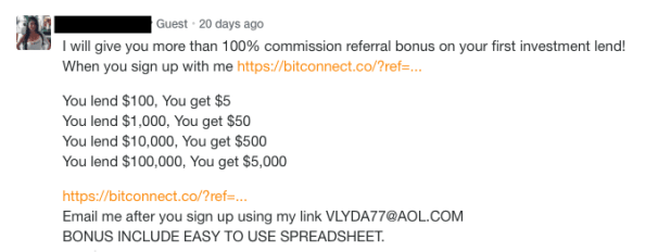 Bitconnect affiliate commission