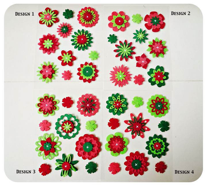 Christmas Flower Felt Embellishment Set On Luulla