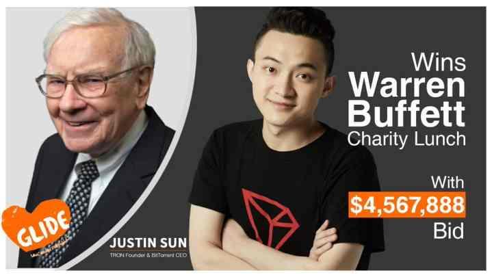 Fundador da Tron ganha oferta de US$ 4,6 milhões por almoço beneficente com Warren Buffett