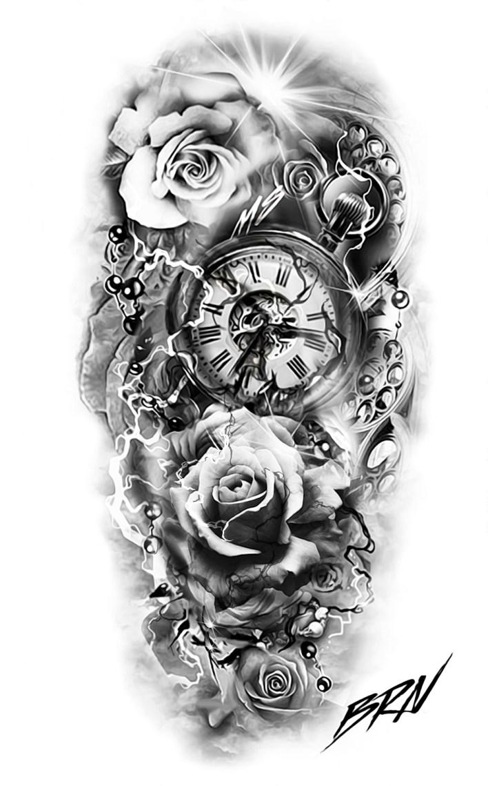 реалистичный дизайн татуировки с карманными часами и розами