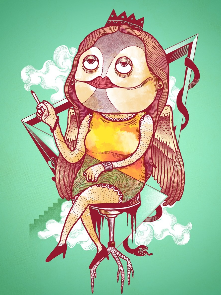 Abstract t-shirt illustration of a smoking bird