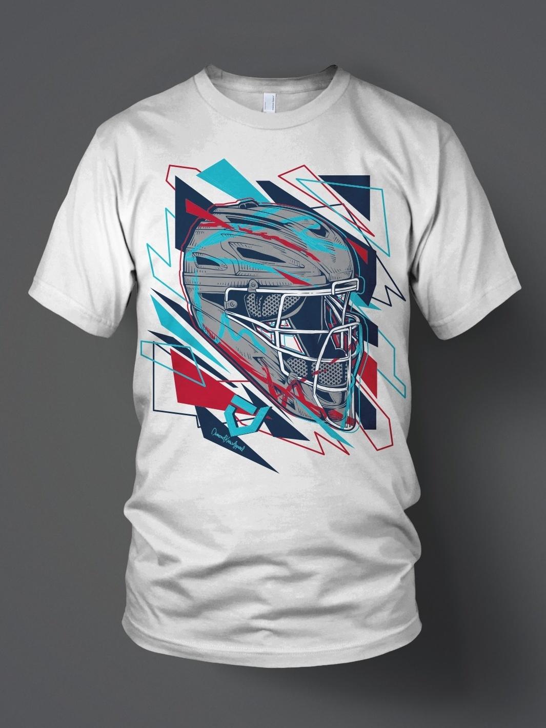 Geometric style umpire helmet illustration