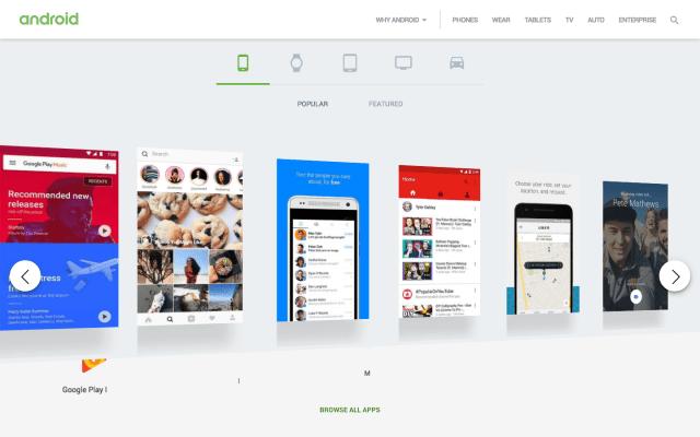 Android website screenshot