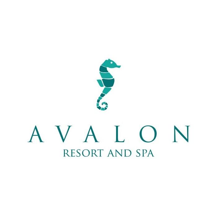 Serif font logo with sea horse