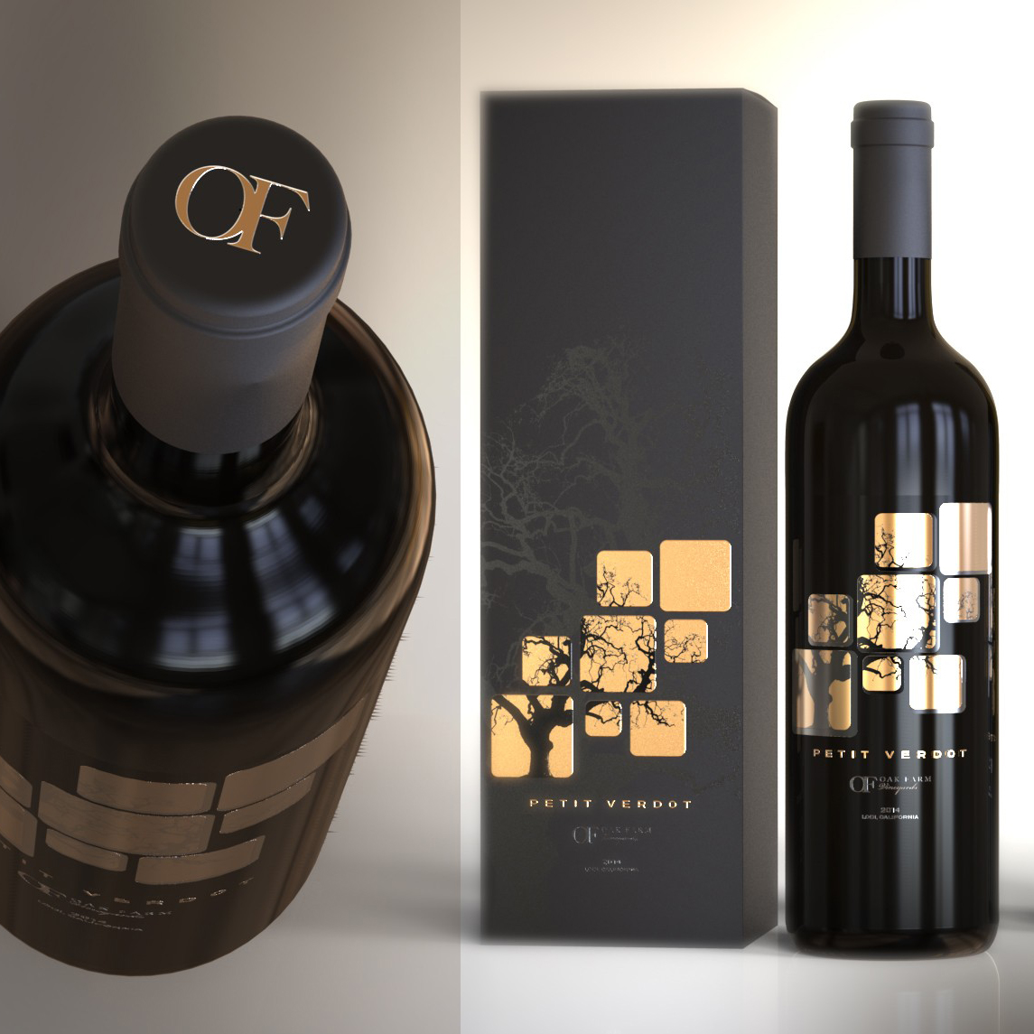 types of graphic design example: gold wine label design