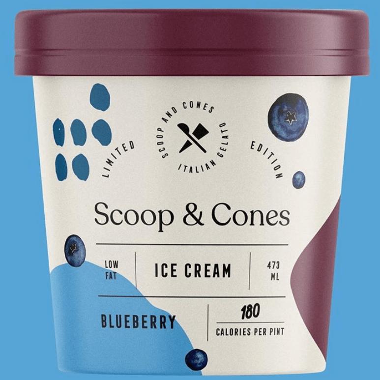 Xu hướng thiết kế bao bì 2020 ví dụ: Scoops một bao bì kem Cones với bố cục có cấu trúc