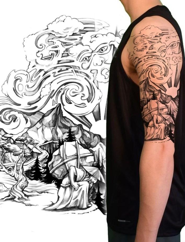 татуировка, иллюстрирующая историю человека, который свернул горы