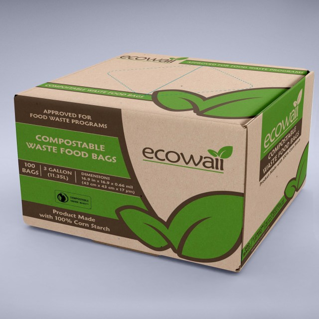 Cardboard box with green and brown lettering.