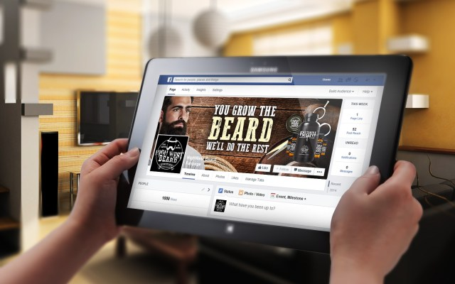 Facebook cover with a man with a beard, scissors and toiletries