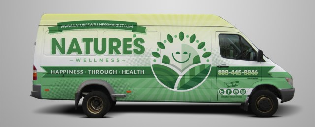 Green van wrap design with sun logo and information