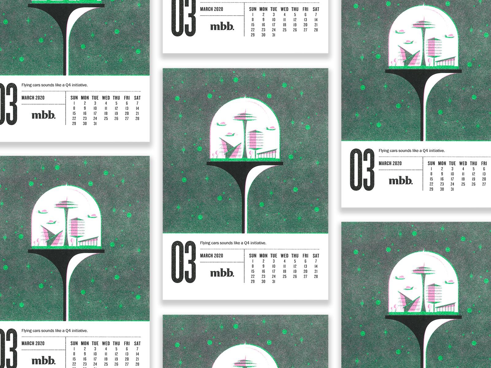 Calendar with retro futuristic illustrations