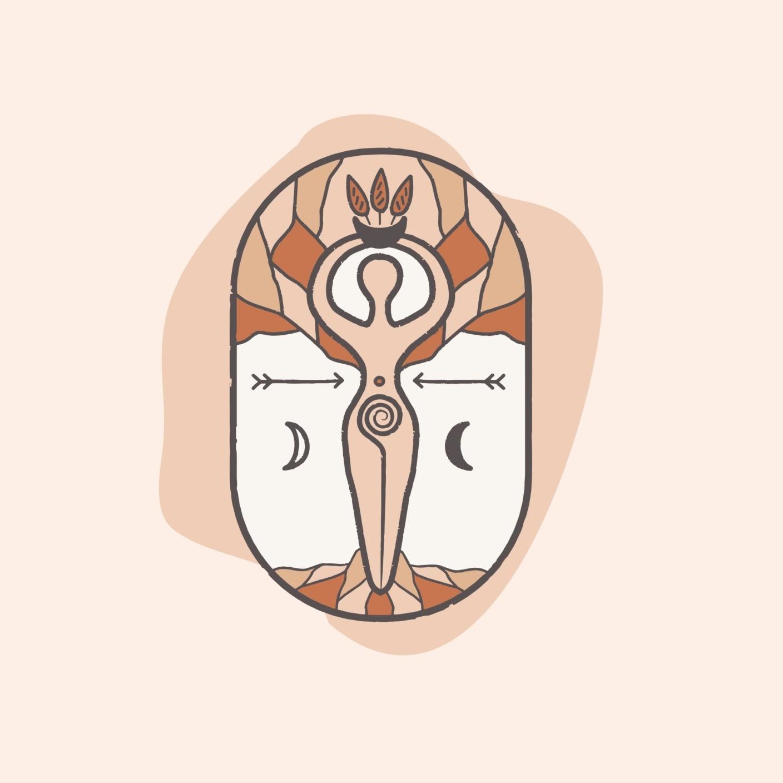Logo design featuring goddess symbol