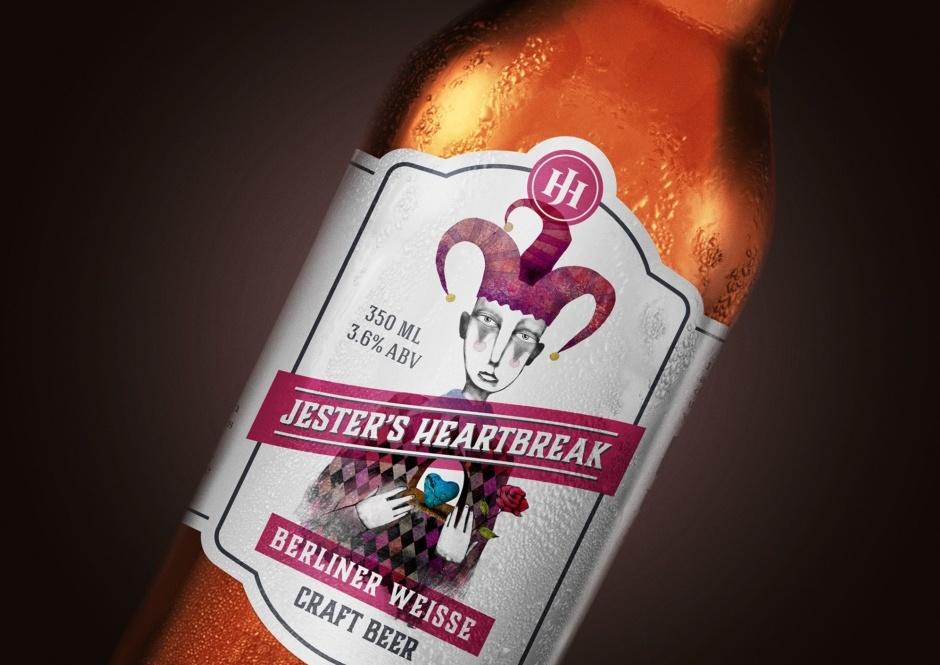 Beer label illustration of a sad jester
